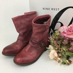 Nine West Topazoli Burgundy Slouch Ankle Boots 7